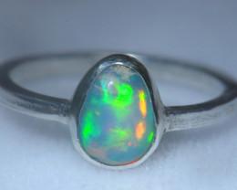 8.2sz .925 Sterling Ethiopian Welo Silver Ring Opal