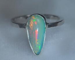 5.5sz .925 Sterling Ethiopian Welo Silver Ring Opal