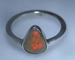 5sz .925 Sterling Ethiopian Welo Silver Ring Opal