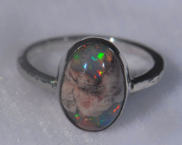 6.5sz .925 Sterling Mexican Silver Ring Opal