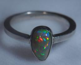 10sz .925 Sterling Ethiopian Welo Silver Ring Opal