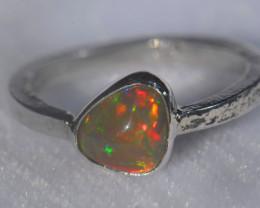 5.7sz .925 Sterling Ethiopian Welo Silver Ring Opal