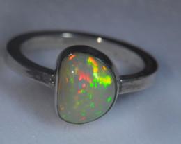 9.2sz .925 Sterling Ethiopian Welo Silver Ring Opal