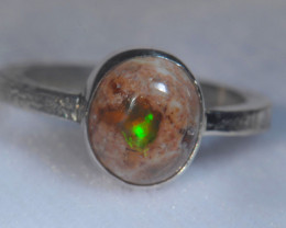 9sz .925 Sterling Mexican Silver Ring Opal