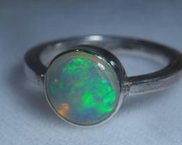 7.7sz .925 Sterling Ethiopian Welo Silver Ring Opal