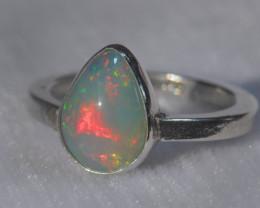 8.7sz .925 Sterling Ethiopian Welo Silver Ring Opal