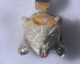 49.14ct Jaguar Head Mexican Opal .925 Sterling Silver Pendant