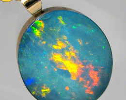 Australian Genuine Opal Pendant 14k Gold Doublet 5ct