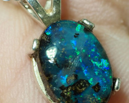 7.40CT OPAL IN  PENDANT WITH SILVER NECKLACE BJ2