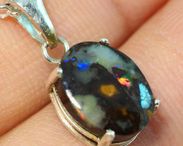 6.65CT OPAL IN  PENDANT WITH SILVER NECKLACE BJ6 (A)