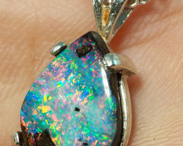 9.60CT OPAL IN  PENDANT WITH SILVER NECKLACE BJ12