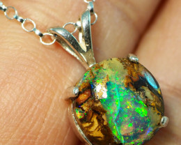 7.20CT OPAL IN  PENDANT WITH SILVER NECKLACE BJ16