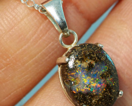 6.15CT OPAL IN  PENDANT WITH SILVER NECKLACE BJ17