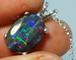 13.70CT OPAL IN  PENDANT WITH SILVER NECKLACE BJ19