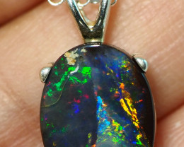 14.75CT OPAL IN  PENDANT WITH SILVER NECKLACE BJ22