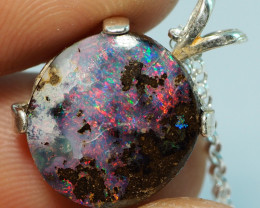 16.40CT OPAL IN  PENDANT WITH SILVER NECKLACE BJ23