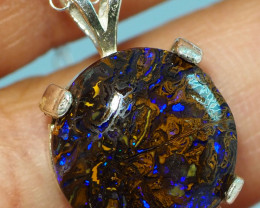 15.60CT OPAL IN  PENDANT WITH SILVER NECKLACE BJ24