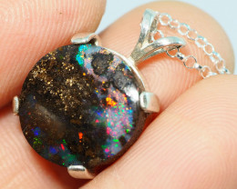 15.45CT OPAL IN  PENDANT WITH SILVER NECKLACE BJ25