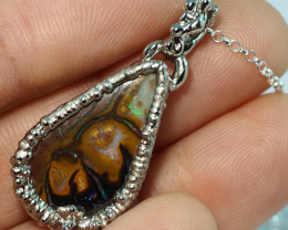 28.55CT OPAL PENDANT WITH SILVER COPPER ELECTRO FORM BJ49