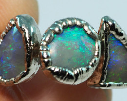16.75CT LIGHTNING RIDGE OPAL RING WITH SILVER COPPER ELECTRO FORM BJ72