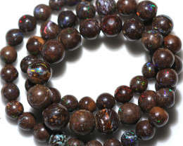 170.00 CTS 10mm BOULDER OPAL BEAD STRAND WITH CLIP [SOJ8084]