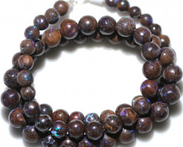 132.00 CTS 7mm BOULDER OPAL BEAD STRAND WITH CLIP [SOJ8088]