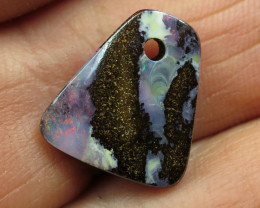 8cts, BOULDER OPAL~FACE DRILLED.