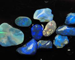 Lightning Ridge Black Opal, lot of rubs with good color, 35.93 ct