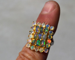 Amazing Multi Opal Ring in Sterling Silver -- Size 8