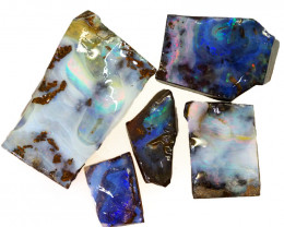 224.95cts  Boulder Opal Rough/Rub Pre-Shaped PARCEL 5 Pieces -S1314