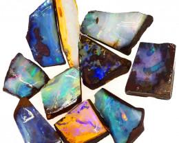 169.65cts  Boulder Opal Rough/Rub Pre-Shaped PARCEL  10Pieces -S1326