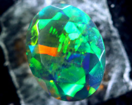 1.23cts Natural Ethiopian Faceted Smoked Black Opal / BF1745