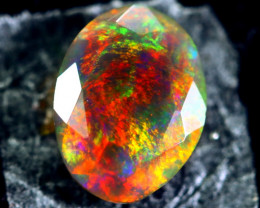 0.96cts Natural Ethiopian Faceted Smoked Black Opal / BF1754