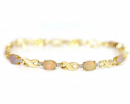 18K GOLD COOBER PEDY  OPAL BRACELET WITH DIAMONDS [CB10]