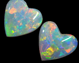 1.38CTS COOBER PEDY OPAL PAIR GREAT COLOUR PLAY  S1391