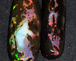 14.00 CRT BROADFLASH COLOR PATTERN FIRE SPECIMENT INDONESIAN OPAL WOOD FOSS