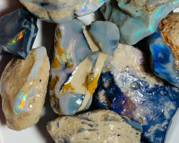 300CTs of Multi Colour Black Rough Opal - Lots of Bright Colours
