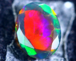 1.00cts Natural Ethiopian Faceted Smoked Black Opal / BF1876