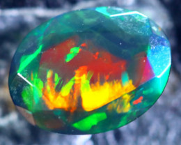 1.08cts Natural Ethiopian Faceted Smoked Black Opal / BF1879