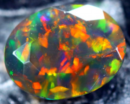 1.10cts Natural Ethiopian Faceted  Smoked Black Opal / HM191