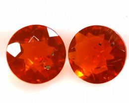 0.68 CTS MEXICAN FIRE OPAL FACETED STONE PAIR  FOB -2203