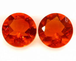 0.71 CTS MEXICAN FIRE OPAL FACETED STONE PAIR  FOB -2204