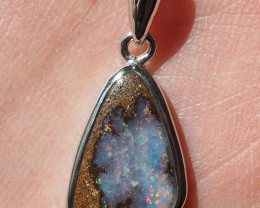 Australian Boulder Opal Bezel Pendant, Sterling silver, with chain