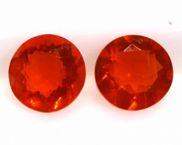 0.61CTS MEXICAN FIRE OPAL FACETED STONE PAIR  FOB -2263