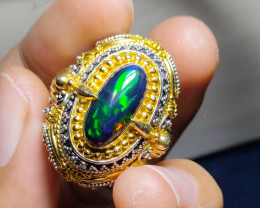 BRILLIANT BRIGHT SMOCKED WELO OPAL SILVER RING925