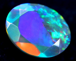 1.28cts Natural Ethiopian Faceted Smoked Opal / BF2052