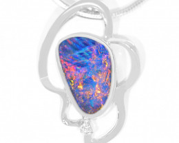 925 ST/ SILVER RHODIUM PLATED OPAL DOUBLET PENDANT [FP01]