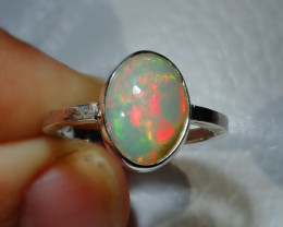 7.5sz Natural Ethiopian Welo Opal .925 Sterling Silver Ring