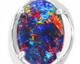 925 ST/ SILVER RHODIUM PLATED OPAL TRIPLET PENDANT [FP03]