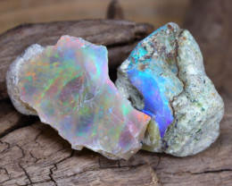 Welo Rough 16.68Ct Natural Ethiopian Play Of Color Facet Rough Opal E0206